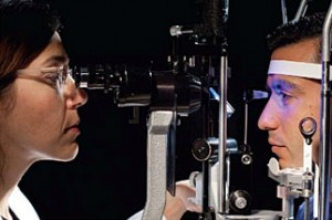 A tonometer measures pressure inside the eye to detect glaucoma.